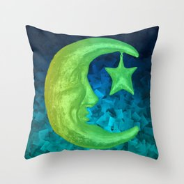 Magical Shining Half Moon with Star Throw Pillow