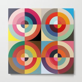 4 Seasons - Colorful Classic Abstract Minimal Retro 70s Style Graphic Design Metal Print