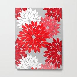 Modern Floral Kimono Print, Coral Red and Gray Metal Print
