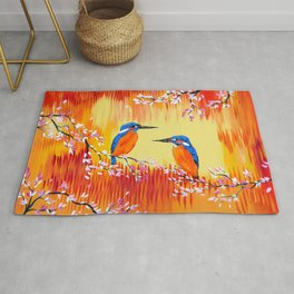 Kingfishers with red, orange and yellow Rug