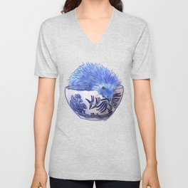 Hedgehog Hotub #2 Blue Willow Unisex V-Neck