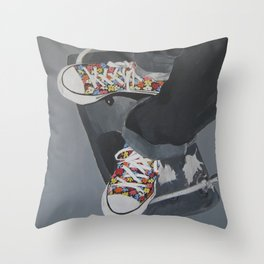 Flowered Converse shoes on a swing Throw Pillow