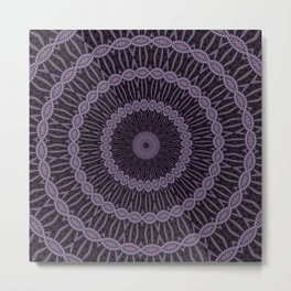 Eggplant and Pale Aubergine Circles Kaleidoscope Pattern Metal Print