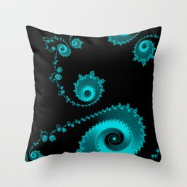 Burning Embers Blue - Fractal Art Throw Pillow