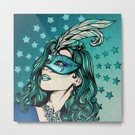 Teal Masquerade Girl Metal Print