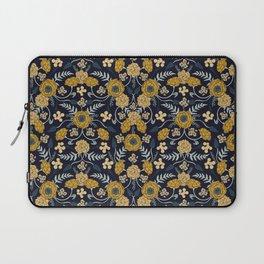 Navy Blue, Turquoise, Cream & Mustard Yellow Dark Floral Pattern Laptop Sleeve