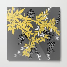 TREE BRANCHES YELLOW GRAY  AND BLACK LEAVES AND BERRIES Metal Print