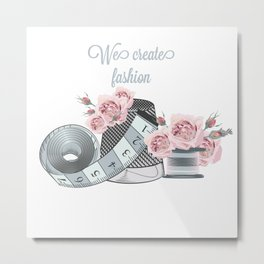 Fashion vector illustration with sewing accessories and roses Metal Print