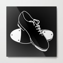 Tap shoes - white line on black background  Metal Print