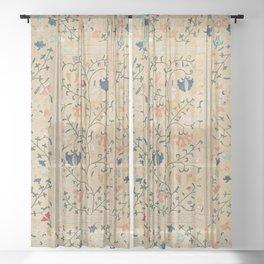 Uzbekistan Suzani Nim Embroidery Print Sheer Curtain
