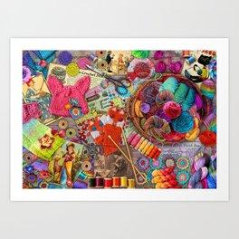 Vintage Yarn & Thread Art Print
