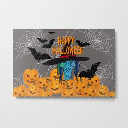 Bats & Witch Happy Halloween Metal Print