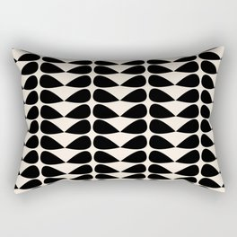 Mod Leaves Mid Century Modern Abstract Pattern in Black and Almond Cream Rectangular Pillow