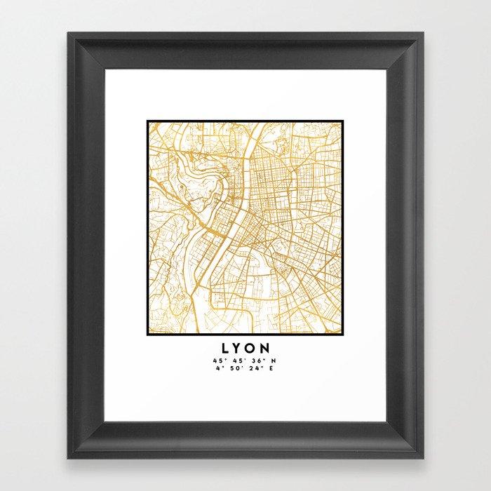 LYON FRANCE CITY STREET MAP ART Gerahmter Kunstdruck