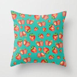 Strawberies pattern Throw Pillow