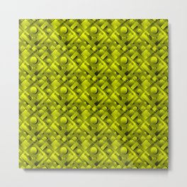 Volumetric design with interlaced circles and yellow rectangles of stripes. Metal Print