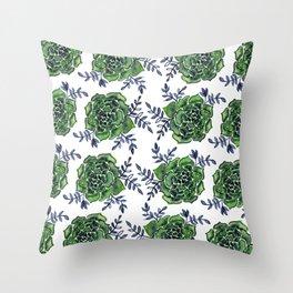 Watercolor houseleek - green and indigo Throw Pillow