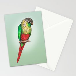 Conure with a heart on its belly Stationery Cards