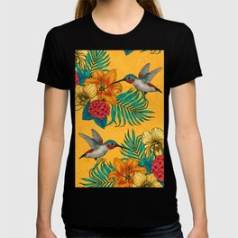 Hummingbirds and tropical bouquet in yellow T-shirt