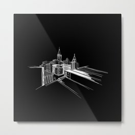 Vibrant City Black Background Metal Print
