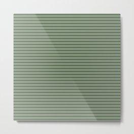 Small Dark Forest Green Mattress Ticking Bed Stripes Metal Print