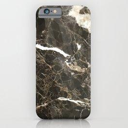 Dark Brown Marble With White Veins iPhone Case