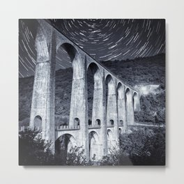 French old stone viaduct architecture under moonlight with star trails monochrome Metal Print
