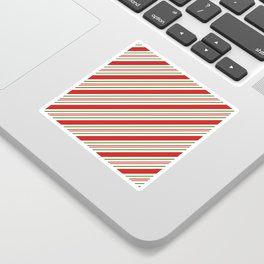 Red Green and White Candy Cane Stripes Thick and Thin Angled Lines Sticker