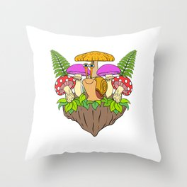 Slimey Slime Retro Vintage Snail T-shirt Design Shell Slow Mushroom Animals Shelled Leaves Throw Pillow