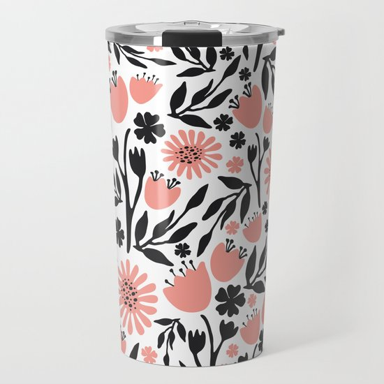 Floral Pattern Dark Gray and Light Coral by vrdesign
