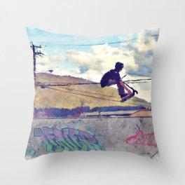 Graffitti Glide Stunt Scooter Sports Artwork Throw Pillow