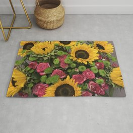 Sunflowers and Little Red Roses Rug