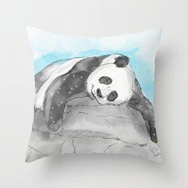 Sleepy Panda Watercolor Throw Pillow
