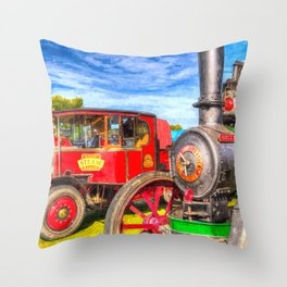 Traction Engine And Steam Lorry Art Throw Pillow