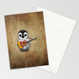 Baby Penguin Playing Sri Lankan Flag Guitar Stationery Cards