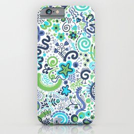 Teal Blue Green Zendoodle iPhone Case