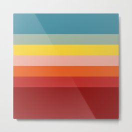 7 Colorful Classic Retro Summer Stripes Malsumis Metal Print