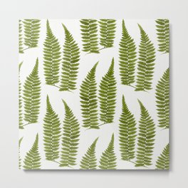 Watercolor Fern Pattern Metal Print