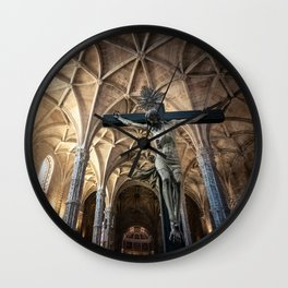 Crucified Christ inside Santa Maria de Belem church in Lisbon, Portugal Wall Clock