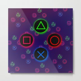 Let's Play! Neon PS4 Controller Buttons Metal Print