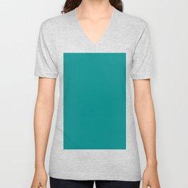 color dark cyan Unisex V-Neck