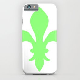 Fleur de Lis (Light Green & White) iPhone Case