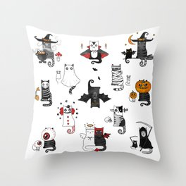 Horror Cats and mouses. Cute witch, vampire, angel and demon Throw Pillow