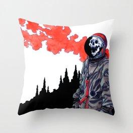 Silent Scream - Red Throw Pillow