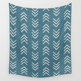 Muted teal and soft white ink brushed arrow heads pattern with textured background Wall Tapestry