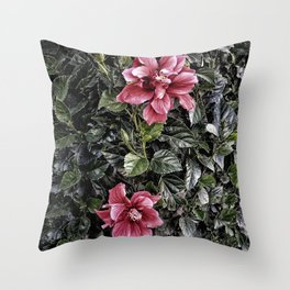 Frosted Hibiscus Throw Pillow