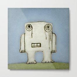 Sad Monster Baby Crying Metal Print