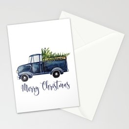 Blue Christmas Truck Stationery Cards
