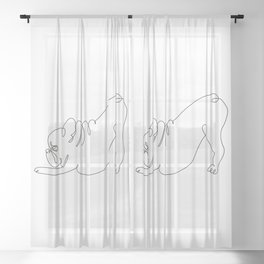 One line Frenchie Downward Dog Sheer Curtain