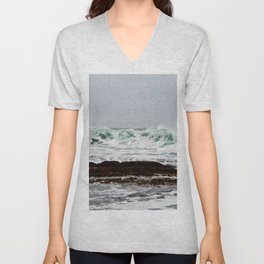Green Wave Breaking Unisex V-Neck